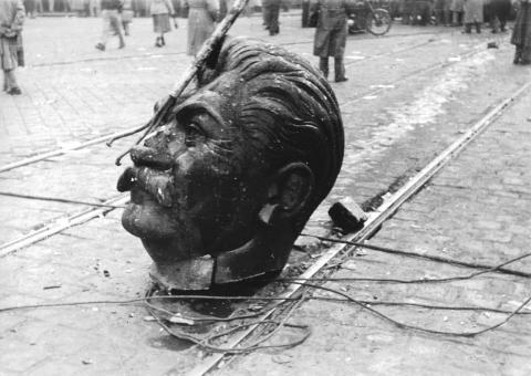Der Kopf des gestürzten Stalin-Denkmals.